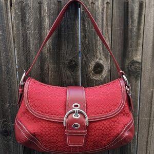 Soho Signature Buckle Flap Red Canvas Shoulder Bag